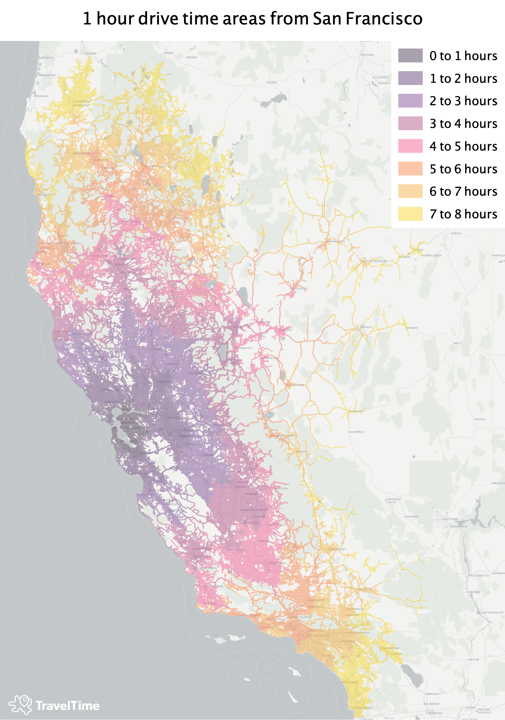 Visualising How Far You Can Drive From San Francisco Within 8 Hours