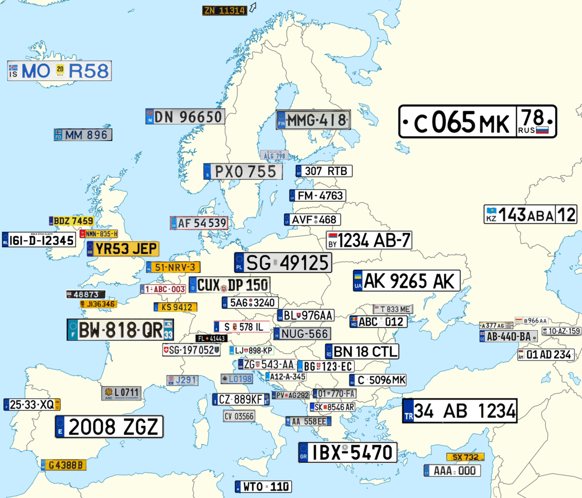 European License & Number Plate Designs